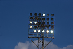 WREXHAM, WALES - Monday, May 2, 2016: Floodlights during the 129th Welsh Cup Final between Airbus UK Broughton and The New Saints at the Racecourse Ground. (Pic by David Rawcliffe/Propaganda)