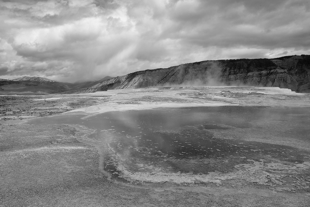 Upper Terrace Geyser Pool - Mammoth Terrace Hot Springs - Yellowstone National Park - Black & White