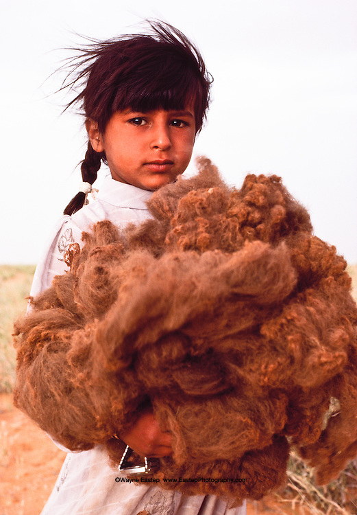 Seven year old Anoud, daughter of Mohammed Al Amrah, holding a bundle of camel wool to be used for weaving. Dahana Sands, Saudi Arabia