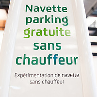 Lyon, France - 19 March 2014: a parking stand for driverless navettes at Innorobo 2014, the 4th international trade show on service robotics.