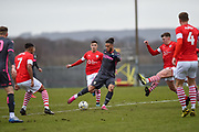 Tyler Roberts of Leeds United Under 23's shoots at goal during the U23 Professional Development League match between Barnsley and Leeds United at Oakwell, Barnsley, England on 9 March 2020.