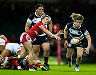 Keira Bevan of Wales gets the ball away<br /> <br /> Photographer Simon King/Replay Images<br /> <br /> Friendly - Wales v Barbarians - Saturday 30th November 2019 - Principality Stadium - Cardiff<br /> <br /> World Copyright © Replay Images . All rights reserved. info@replayimages.co.uk - http://replayimages.co.uk