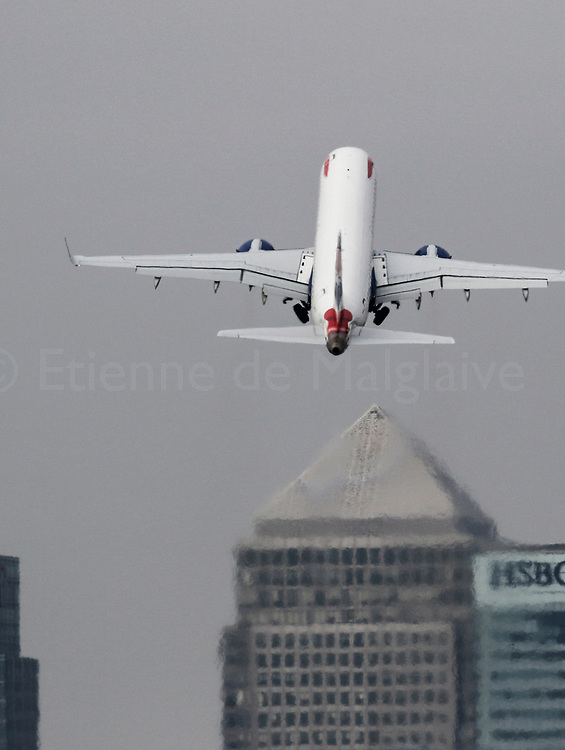 A British Airways Embraer ERJ 190 takes off from the London City - LCY airport, 20 April 2017.