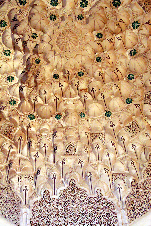 North Africa, Morocco, Marrakesh. A dome ceiling of the Ben Youssef Madrassa.
