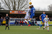 AFC Wimbledon defender Steve Seddon (15)battles for possession with Burton Albion midfielder Marcus Harness (16) during the EFL Sky Bet League 1 match between AFC Wimbledon and Burton Albion at the Cherry Red Records Stadium, Kingston, England on 9 February 2019.