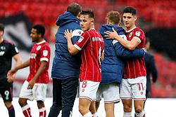 Josh Brownhill and Callum O'Dowda of Bristol City hug ,Luke Steele and Cauley Woodrow after a 4-1 win - Rogan/JMP - 16/09/2017 - Ashton Gate Stadium - Bristol, England - Bristol City v Derby County - Sky Bet Championship.