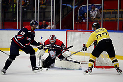 19.08.2012, Cloetta Center, Linkoeping, SWE, European Trophy, Linkoepings HC vs Vienna Capitals, im Bild, Linköping nr 54 målvakt Andreas Andersson , Linköping nr 48 back Daniel Rahimi // during the European Trophy Icehockey match betweeen Linkoepings HC and Vienna Capitals at the Cloetta Center, Linkoping, Sweden on 2012/08/19. EXPA Pictures © 2012, PhotoCredit: EXPA/ PicAgency Skycam/ Peter Holgersson..***** ATTENTION - OUT OF SWE *****