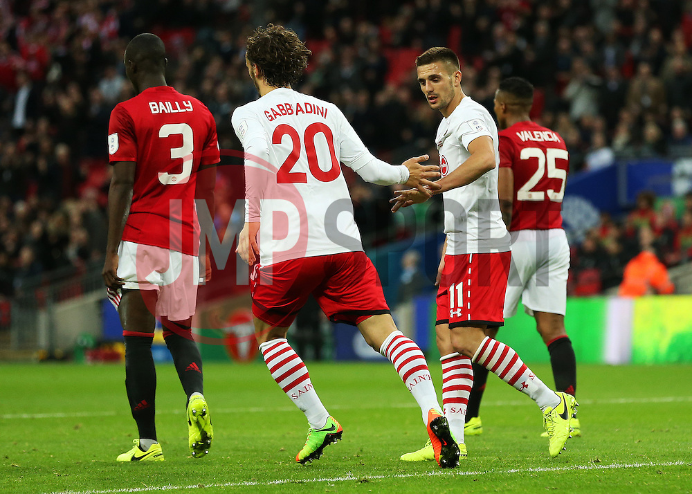 Manolo Gabbiadini of Southampton celebrates after scoring his sides first goal to make it 2-1 - Mandatory by-line: Matt McNulty/JMP - 26/02/2017 - FOOTBALL - Wembley Stadium - London, England - Manchester United v Southampton - EFL Cup Final