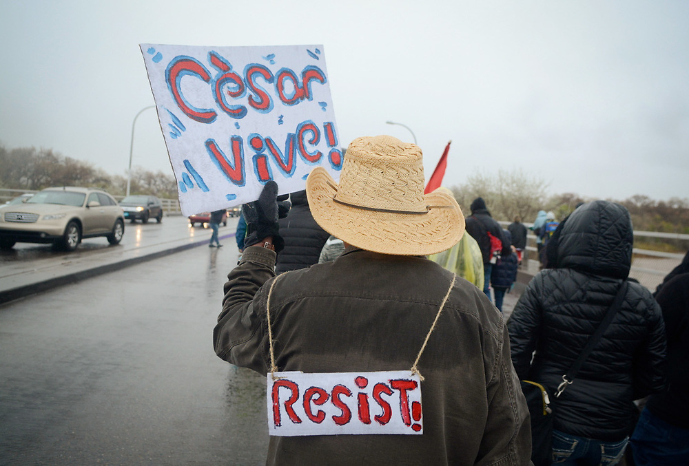 A man carries a sign while marching in the rain over the Rio Grande during  the annual Cesar Chavez Day march, Saturday, April 1, 2017, in Albuquerque, N.M. (Marla Brose/Albuquerque Journal)