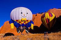 Special Shape Hot Air Balloons flying during the Red Rock Balloon Rally, Red Rock State Park, Gallup, New Mexico USA.
