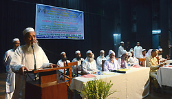August 28, 2017 - Kolkata, West Bengal, India - State Minister Siddiqullah Chowdhury(left) delivers his speech during the protest program of Jamat-Ulema-E-Hind against verdict of Supreme Court to stop Triple Talaq system in Kolkata. Activist of Jamat-Ulema-E-Hind protests against Supreme Court verdict on Triple Talaq system at Mahajati Sadan on August 28, 2017 in Kolkata. (Credit Image: © Saikat Paul/Pacific Press via ZUMA Wire)