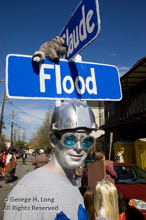The impact of Hurricane Katrina infiltrates the costumes of Mardi Gras