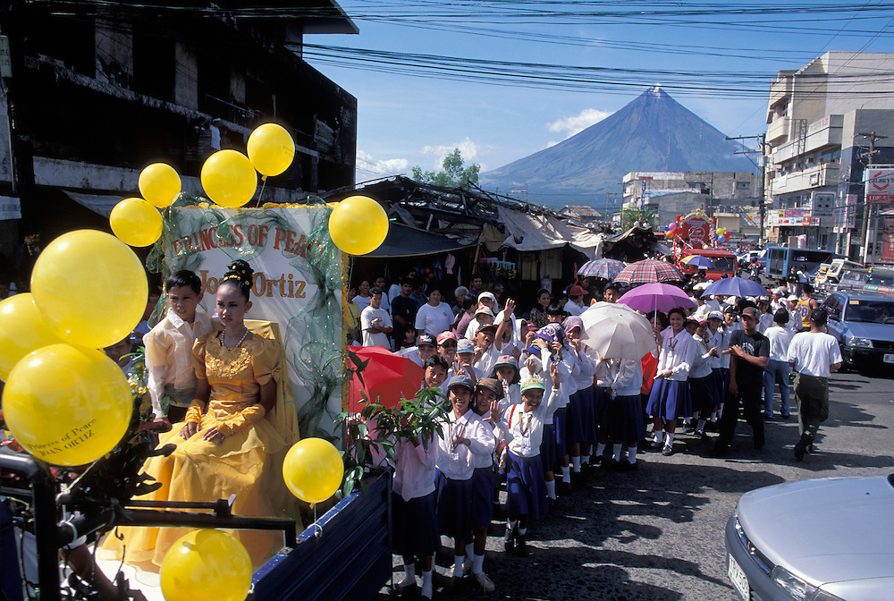 Philippines, St. Valentines Day Parade near Mayon Volcano in Legazpi on Luzon Island.