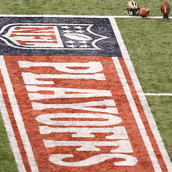 16 January 2010: A NFL Playoffs banner painted on the field of the Superdome for a 2010 NFC Divisional Playoff game between the New Orleans Saints and the Arizona Cardinals at the Louisiana Superdome in New Orleans, Louisiana.