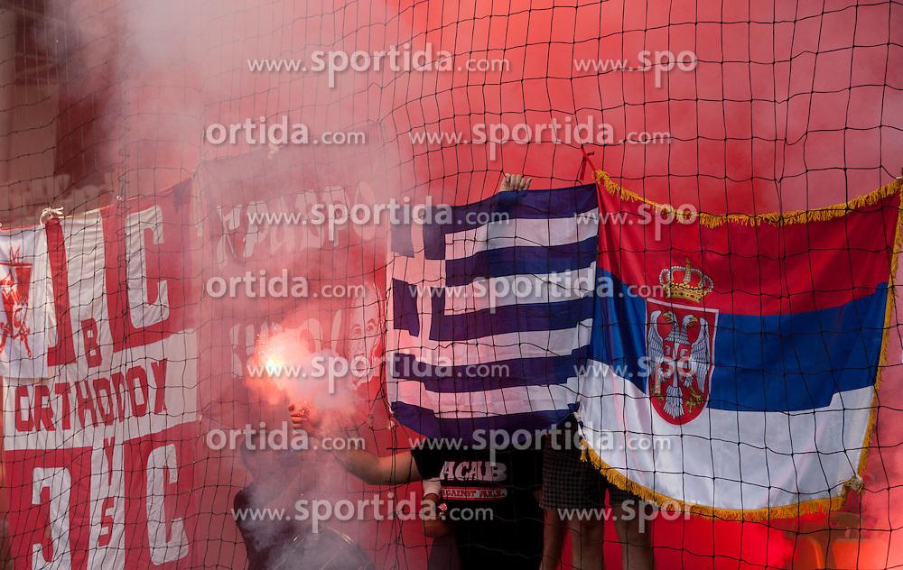 Fans of Crvena Zvezda during friendly football match between NK Olimpija Ljubljana and Crvena Zvezda (Belgrade), on June 27, 2012 in SRC Stozice, Ljubljana, Slovenia. Olimpija defeated Crvena Zvezda 3-0. (Photo by Vid Ponikvar / Sportida.com)
