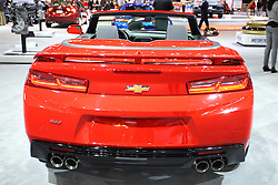 11 February 2016: Chevrolet Camaro SS Convertible.<br /> <br /> First staged in 1901, the Chicago Auto Show is the largest auto show in North America and has been held more times than any other auto exposition on the continent.  It has been  presented by the Chicago Automobile Trade Association (CATA) since 1935.  It is held at McCormick Place, Chicago Illinois<br /> #CAS16
