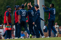 September 22, 2018 - Morrisville, North Carolina, US - Sept. 22, 2018 - Morrisville N.C., USA - Team USA celebrates during the ICC World T20 America's ''A'' Qualifier cricket match between USA and Canada. Both teams played to a 140/8 tie with Canada winning the Super Over for the overall win. In addition to USA and Canada, the ICC World T20 America's ''A'' Qualifier also features Belize and Panama in the six-day tournament that ends Sept. 26. (Credit Image: © Timothy L. Hale/ZUMA Wire)