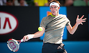 Argentinian Leonardo Mayer took on defending Australian Open Champion Novak Djokovic (SRB) in third day, second round play. Djokovic beat Mayer 6-0, 6-4, 6-4 at Melbourn's Rod Laver Arena.
