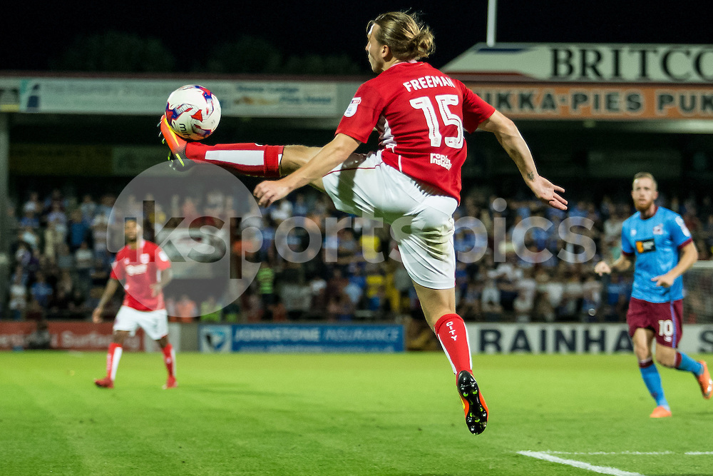 Luke Freeman of Bristol City controls the ball during the EFL Cup second round match between Scunthorpe United and Bristol City at Glanford Park, Scunthorpe, England on 23 August 2016. Photo by James Williamson.