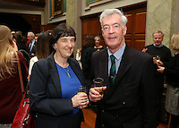 REPRO FREE***PRESS RELEASE NO REPRODUCTION FEE***<br /> Irish Sailing Awards, Royal College of Surgeons, Stephen's Green, Dublin 4/2/2016<br /> National Yacht Club sailor Liam Shanahan was named the 2015 Irish Sailor of the Year today at the Irish Sailing Awards in Dublin - Shanahan had a remarkable year, including victory in the Dun Laoghaire to Dingle race in June on his boat Ruth with two miles to spare.<br /> Kilkenny's Doug Elmes and Malahide's Colin O'Sullivan jointly took home the Irish Sailing Association (ISA) Youth Sailor of the Year award. The Howth Yacht Club sailors were hotly tipped following their recent Bronze medal success at the 2015 Youth World Championships in Malaysia, where they took Ireland's first doublehanded youth worlds medal in 19 years.<br /> The Mitsubishi Motors Sailing Club of the Year award was presented to the Royal Irish Yacht Club in honour of their success at local, national and international level.<br /> Mullingar Sailing Club took home the ISA Training Centre of the Year award, having been nominated as winners of the western-region Training Centre of the Year.<br /> Pictured is Deirdre O'Keefe (Dept of Transport, Tourism and Sport) and Brian Craig<br /> Mandatory Credit ©INPHO/Cathal Noonan