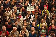 Berlin, Germany - 21.01.2016<br /> <br /> Citizens' Assembly about the refugee accommodation in the former airport Berlin-Tempelhof.<br /> <br /> Buergerversammlung zur Fluechtlingsunterbringung im ehemaligen Flughafen Berlin-Tempelhof.<br /> <br /> Photo: Bjoern Kietzmann