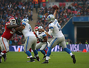 Detroit Lions Matthew Stafford passing the ball during the Kansas City Chiefs v Detroit Lions  NFL International Series match at Wembley Stadium, London, England on 1 November 2015. Photo by Matthew Redman.