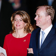 NLD/Utrecht/20130201 - Vertrek 75ste verjaardagfeest  Koninging Beatrix, Prins Carlos Xavier Bourbon de Parma en partner Annemarie Gualthérie van Weezel
