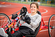 Geraldine Lavelle who was left paralysed from the chest as a result of a cycling accident, uses a hand cycle to keep fit at IT Sligo, Ballinode, Sligo. <br /> Photo: James Connolly<br /> 15AUG17