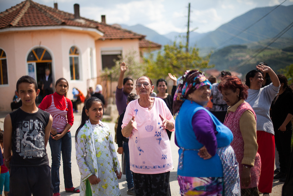 Members of the local Roma community during the European Immunization Week in the city of Vinica in Macedonia.