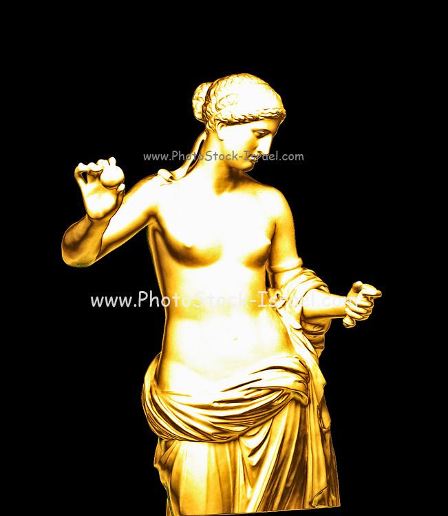 Digitally enhanced image of a gilded statue of Venus of Arles