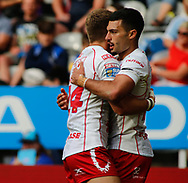 Kieren Moss (R) of Hull Kingston Rovers celebrates scoring his 2nd try of the game with team mate Chris Atkins (L) against Hull FC  during the Betfred Super League match at the Dacia Magic Weekend, St. James's Park, Newcastle<br /> Picture by Stephen Gaunt/Focus Images Ltd +447904 833202<br /> 20/05/2018