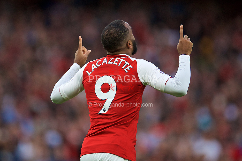 LONDON, ENGLAND - Friday, August 11, 2017: Arsenal's Alexandre Lacazette celebrates scoring the first goal during the FA Premier League match between Arsenal and Leicester City at the Emirates Stadium. (Pic by David Rawcliffe/Propaganda)