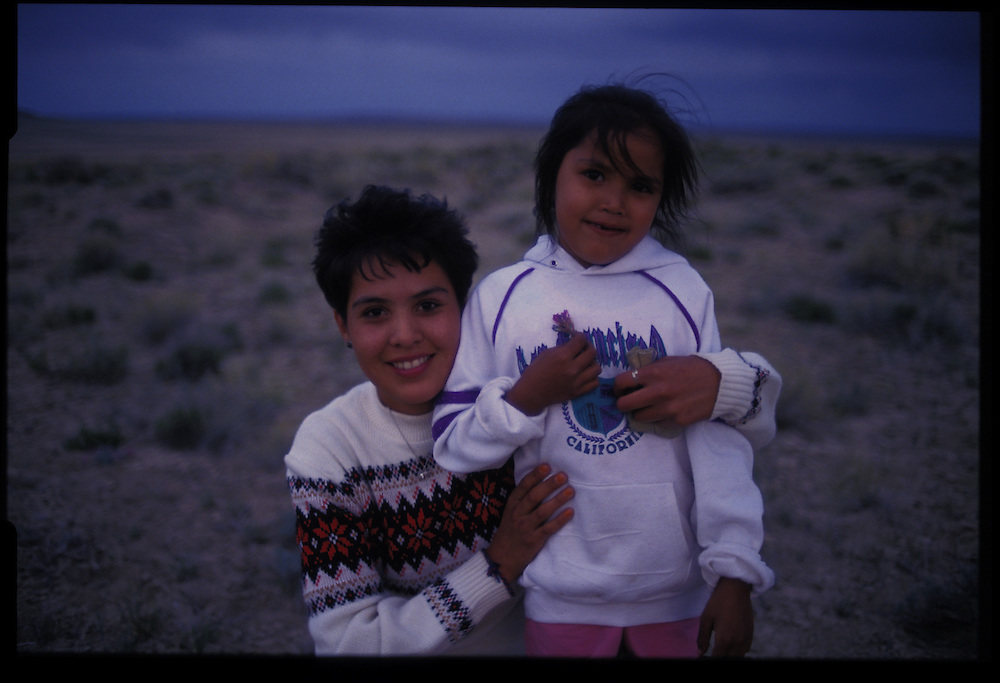 Desiree Taliman (6) and a friend.  Greasewood, Arizona.