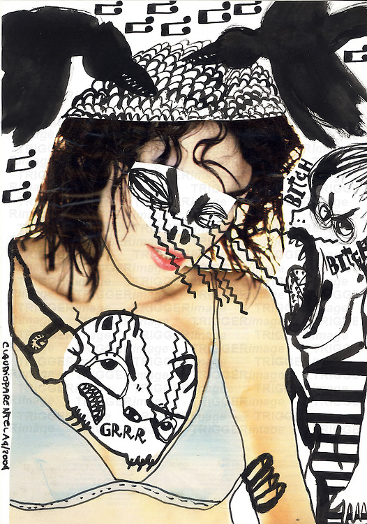 Illustration in pen and ink of women