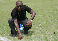 Photo: Steve Bond/Richard Lane Photography.<br /> Cameroon v Egypt. The Final. Africa Cup of Nations. 10/02/2008. Ex Fulham groundman Frank Boahene who has produced the miracle of green pitches, in Ghana, in scorching, dry January