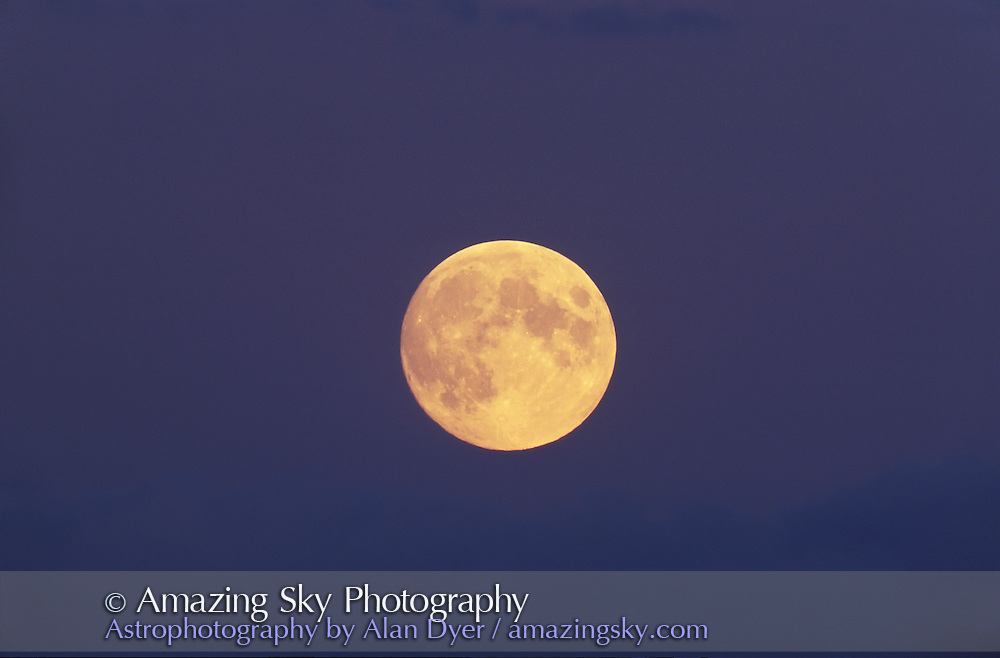 Date and exposure time not recorded. Full Moon rising behind clouds<br /> <br /> Colors are as per the original slide<br /> <br /> 5-inch apo refractor at f/6<br /> <br /> Same night as &quot;Full Moon Rising w/Cloud&quot; only later