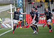 17th February 2018, Firhill Stadium, Glasgow, Scotland; Scottish Premier League Football, Partick Thistle versus Dundee; Simon Murray of Dundee celebrates after scoring for 2-1