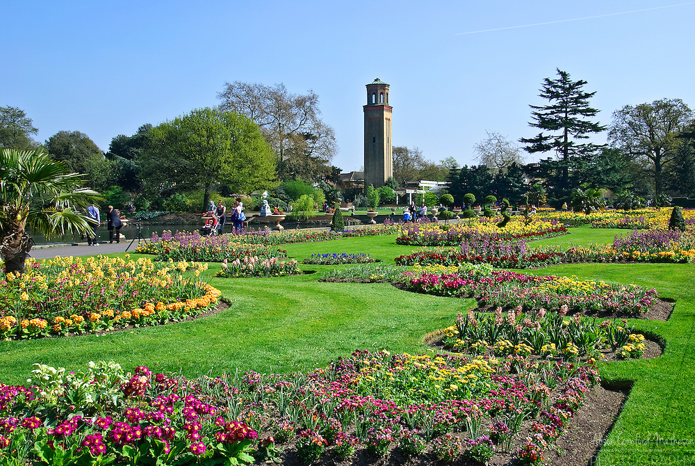 The Campanile tower at the Royal Botanic Gardens of Kew in London, England was orignally built to disguise the vents for the palm house.