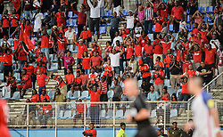 October 10, 2017 - Couva, Caroni County, Trinidad & Tobago - Couva, Trinidad & Tobago - Tuesday Oct. 10, 2017: Soca Warriors fans celebrate their win over the US during a 2018 FIFA World Cup Qualifier between the men's national teams of the United States (USA) and Trinidad & Tobago (TRI) at Ato Boldon Stadium. (Credit Image: © John Todd/ISIPhotos via ZUMA Wire)