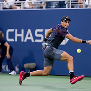 August 30, 2017 - New York, NY : Alexander Zverev, not visible, competes against Borna Coric, in black, in the Grandstand on the third day of the U.S. Open, at the USTA Billie Jean King National Tennis Center in Queens, New York, on Wednesday. <br /> CREDIT : Karsten Moran for The New York Times