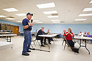 Mark Lesko speaks at the town hall meeting at American Legion post 201 in Tomah, Wisc, on Monday, June 22. Photo by Ben Brewer.