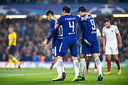 Chelsea (9) Álvaro Morata, Chelsea (4) Cesc Fàbregas, Chelsea (10) Eden Hazard, celebrate goal during the Champions League match between Chelsea and Roma at Stamford Bridge, London, England on 18 October 2017. Photo by Sebastian Frej.
