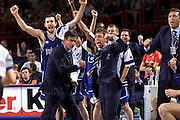 Francia 01/07/1999<br /> Campionati Europei di Basket Francia 1999<br /> Italia-Russia<br /> Boscia Tanjevic Andrea Meneghin Marco Crespi