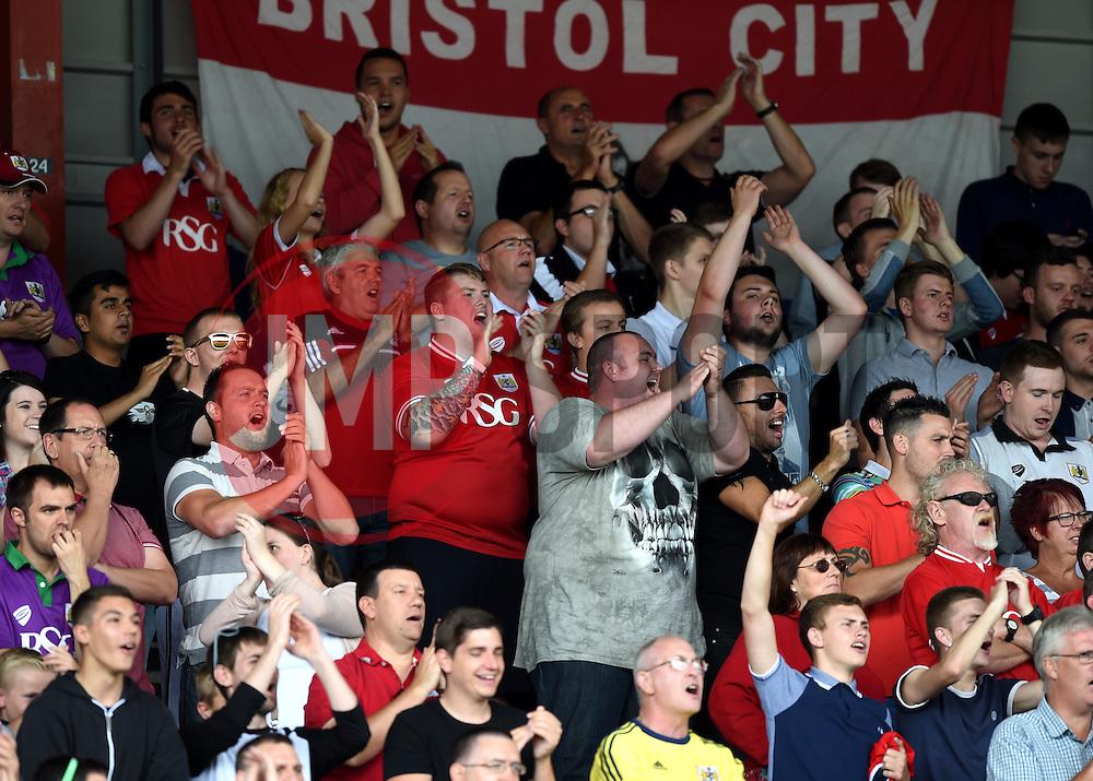Bristol City supporters celebrate Aaron Wilbraham's goal - Mandatory by-line: Paul Knight/JMP - Mobile: 07966 386802 - 15/08/2015 -  FOOTBALL - Ashton Gate Stadium - Bristol, England -  Bristol City v Brentford - Sky Bet Championship