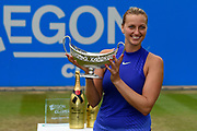 Petra Kvitova of the Czech Republic holds up her trophy after the Final of the Aegon Classic Birmingham at Edgbaston Priory Club, Edgbaston, United Kingdom on 25 June 2017. Photo by Martin Cole.