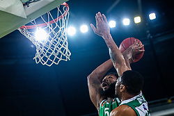 Mikael Hopkins of KK Cedevita Olimpija and Youssou Ndoye of Nanterre 92 during EuroCup basketball match between teams KK Cedevita Olimpija and Nanterre 92 in Round 4, Arena Stozice, 23. October, Ljubljana, Slovenia. Photo by Grega Valancic / Sportida