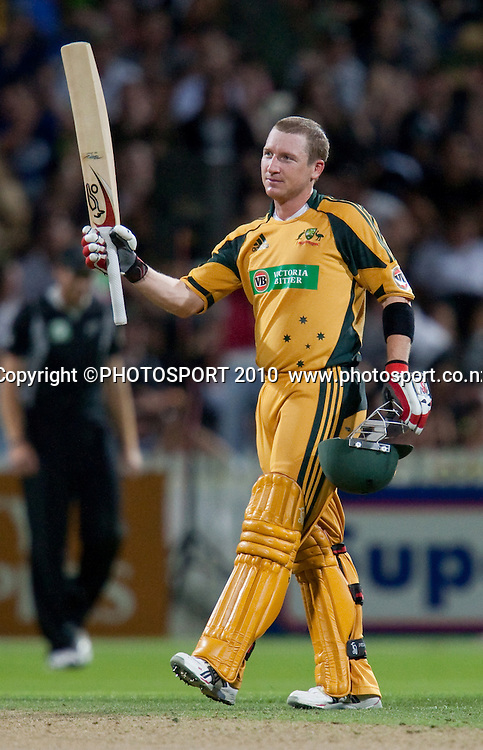 Brad Haddin celebrates scoring a century during the third one day Chappell Hadlee cricket series match between New Zealand Black Caps and Australia at Seddon Park, won by Australia by 6 wickets in Hamilton, New Zealand. Tuesday 9 March 2010. Photo: Stephen Barker/PHOTOSPORT