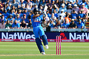 Virat Kohli (captain) of India plays an attacking shot during the International T20 match between England and India at the SWALEC Stadium, Cardiff, United Kingdom on 6 July 2018. Picture by Graham Hunt.