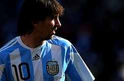 Lionel Messi (Argentina)  reflects during the 2010 World Cup Soccer match between Argentina vs Korea Republic played at Soccer City in Johannesburg, South Africa on 17 June 2010.