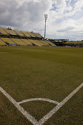 The soccer pitch at Columbus Crew Stadium, before the USA v Mexico game.  The United States men's soccer team defeated the Mexican national team 2-0 in CONCACAF final group qualifying for the 2010 World Cup at Columbus Crew Stadium in Columbus, Ohio on February 11, 2009.